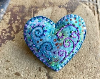 Teal Heart Brooch with Beads and Embroidery on Hand Painted Fabric