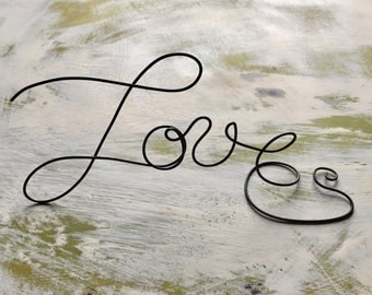 Rustic wire LOVE decoration, wedding decor, candy bar, night stand, anniversary party, cake topper, table decoration, centerpiece