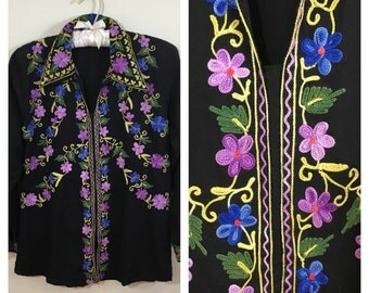 70s Black Floral Embroidered Hippie Tunic Blouse, Small to Medium