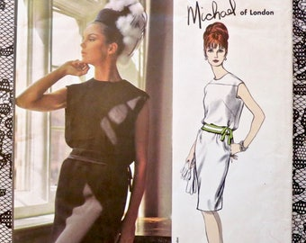 Vintage 1960s Michael of London Womens Two Piece Dress Pattern - Vogue 1465