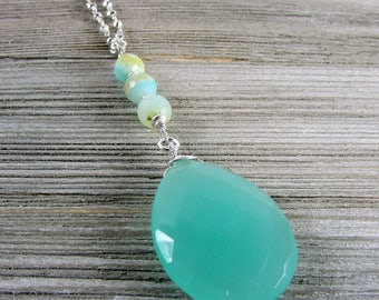Chalcedony & Peruvian Opal Long Necklace