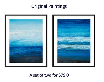 Painting blue abstract landscape blue home decor painting on paper wall art wall decor gift for men home office decor by qiqigallery