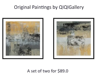 Black white gold painting Diptych art Set of two original abstract painting on paper wall art wall decor by qiqigallery