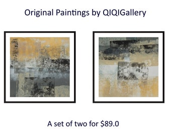 Black white gold painting Diptych art Set of two original abstract landscape painting on paper wall art wall decor home decor by qiqigallery