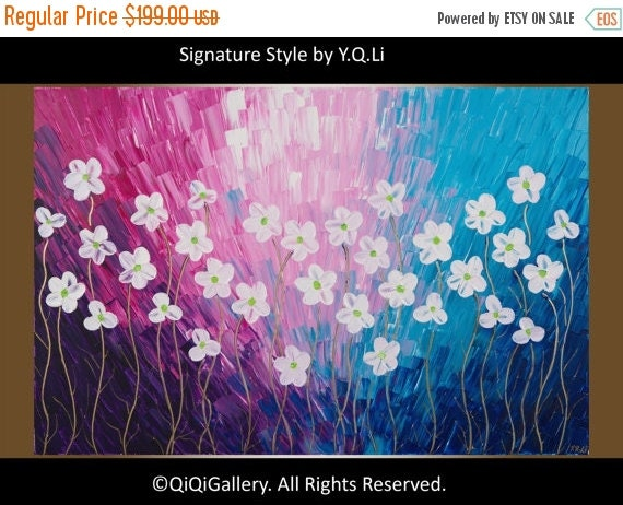 Colorful art white flowers painting magenta blue purple wall art wall decor impasto canvas art original art wall hangings  by QIQI GALLERY