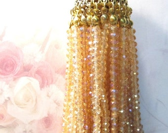 50% Off Antique Gold Top, Peach Gold Crystal Tassel Boho Chic trendy jewelry supplies Home Decor Jewelry Tassel Turkish Jewelry TAS0033 J16