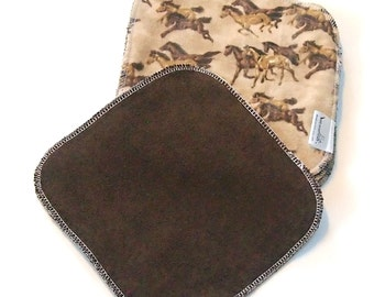8 by 8 inch Serged Cloth Wipes/Washcloths - Horses - Flannel/Baby Terry- set of 5 with brown Terrycloth