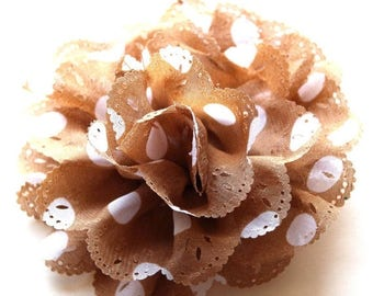 Clearance Sale White and brown polka dot fabric flower brooch