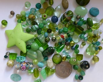 Mix of Assorted Vintage and New Beads in Green Tones - (100g) OOAK  (GRE)