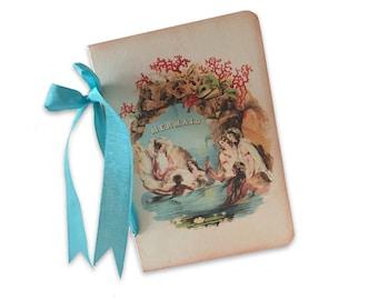 Mermaid Mini Journal,  Mini Gift Journal, Beach Trip Journal, Mermaids in a Grotto, Small Jotter, Party Favor, Vintage Mermaids,