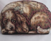 Vintage Toy Works Facsimile of 1892 Vintage Arnold Print Works Realistic Lithograph Print Spaniel Dog Pillow Print  Pillow