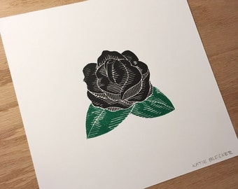 Original Black Rose Linocut Block Print - Limited Edition - Handmade