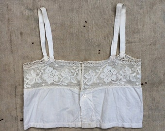 antique ca. 1910s cotton and crocheted lace corset cover / bralette