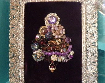 Gorgeous Vintage Inspired OOAK Purple Framed Jewelry Christmas Tree Small Size