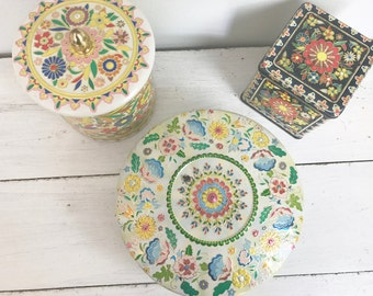 Set of 3 Vintage Colorful Tin Containers with Lids