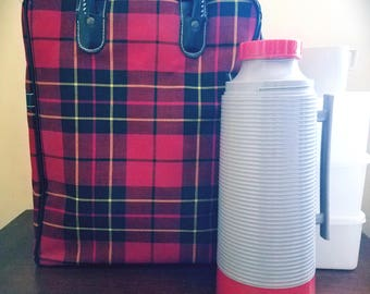 1950s Red Plaid Sears and Roebuck Picnic Set