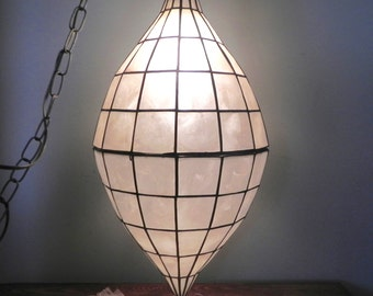 Vintage pendant light with capiz shells and brass - mood soft lighting - in two parts that are hinged