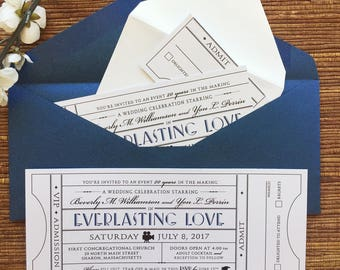 Vintage Ticket Invitation with RSVP tear-off stub / Wedding Birthday Party Anniversary Corporate Event