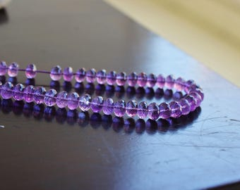 Outstanding Amethyst Gemstone Faceted Rondelle 6mm 45 beads