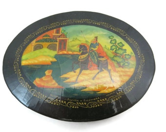 Russian Lacquer Painted Box - Fairytale, Fine Painting, Artist Signed