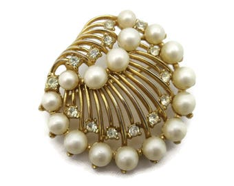 Trifari Pearl and Rhinestone Brooch - Vintage Bridal Costume Jewelry