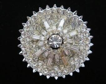 1950s Rhinestone Brooch - Bridal Costume Jewelry Clear Stones, Round