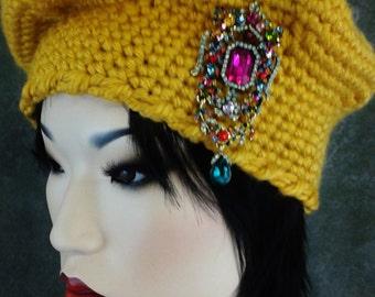 Crochet, Tam,Gold,Yellow,Women,Accessory,Hat,Girls,Winter,Brooch,