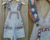 Vintage Overalls // Vtg 60s 70s Striped Shortalls with Floral + Rickrack Trim