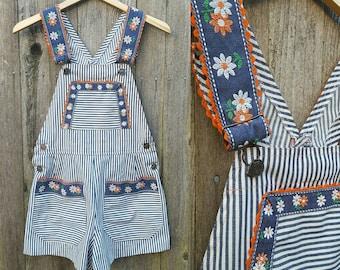 Vintage Overalls // Vtg 60s 70s Striped Shortalls with Floral + Rickrack Trim