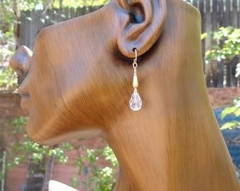 On Sale Wedding Earrings Swarovski Victorian Style Drops in 14 kt Gold Fill