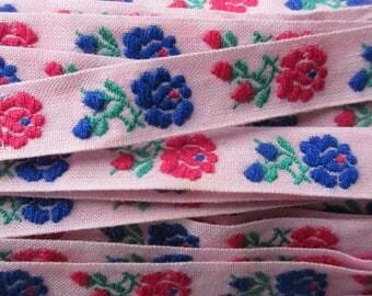 "Italy 2 Yards Fabric Trim Jacquard Ribbon Folkloric Costume Trim Roses 7/16"" Wide Trim  RV 19"