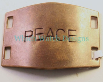 """Large Hand Stamped """"PEACE"""" Bracelet Connector.. Natural brass cuff bracelet connector for beaded watch bands"""