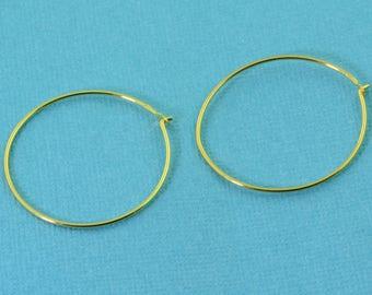 18k Gold Vermeil Hoop Earrings Findings 25mmx0.75mm 1 PAIR