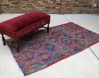 15% SALE 7 x 4 vintage tribal TURKISH wool handwoven KILIM area rug