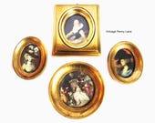 Vintage Framed Florentine Wall Art Prints, Handmade / Gold Gilt