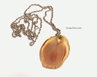 Vintage Agate Slice Pendant Necklace, Silver Tone Chain