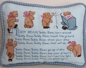 Counted Cross Stitch Teddy Bear Nursery Rhyme Pillow in Blue - Vintage