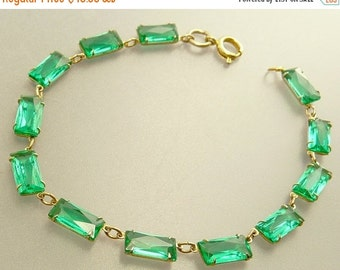 Art Deco Green Crystal Bracelet Open Back Stones