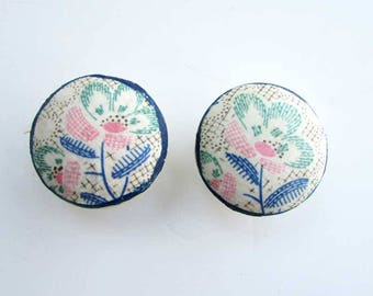 Pair of  Antique Wooden Drawer, Cupboard Pull Knobs, Worn White w Feed sack Fabric Collage Flowers in Green, Pink, Blue , Rustic  Hardware
