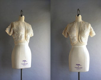 1950s Cardigan / Vintage 50s 60s Sequined Bolero / 1960s White Sequined Cropped Sweater
