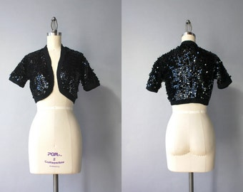 Vintage 60s Cardigan / 1960s Sequined Sweater / Black Sequined 1950s Bolero Crochet Cardigan