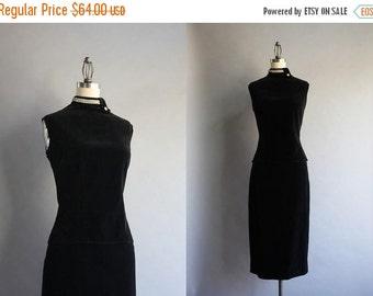 STOREWIDE SALE 1950s Black Velvet Wiggle Dress Set / Vintage 60s Fitted Cocktail Dress Set / Black Velvet and Rhinestones Top and Pencil Ski