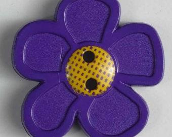 Flower Purple Novelty Button 28 mm