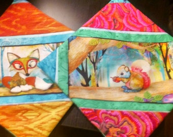 Fox and Squirrel Potholder Set of 2