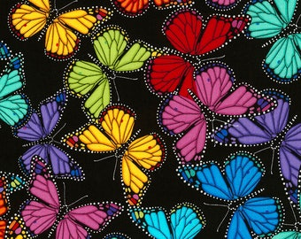 Butterfly Prism Bright Black Timeless Treasures fabric 1 yard