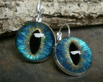 Gothic Steampunk Turquoise Blue Eye Lever Back Earrings in Silver Plate
