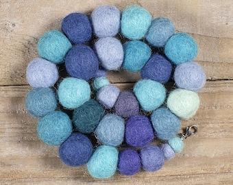 Felt Beads Necklace - Blue / Turquoise Chunky Fabric Necklace