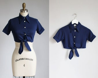 1970s navy blue cotton crop top / xs