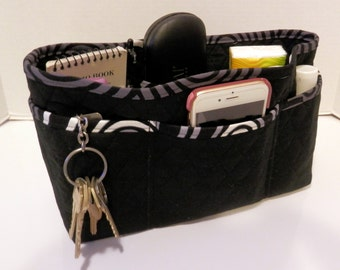 """Purse Organizer Insert/Large/Quilted/4"""" Enclosed / Black"""