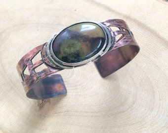 Copper and Sterling Silver Cuff Bracelet with Jasper